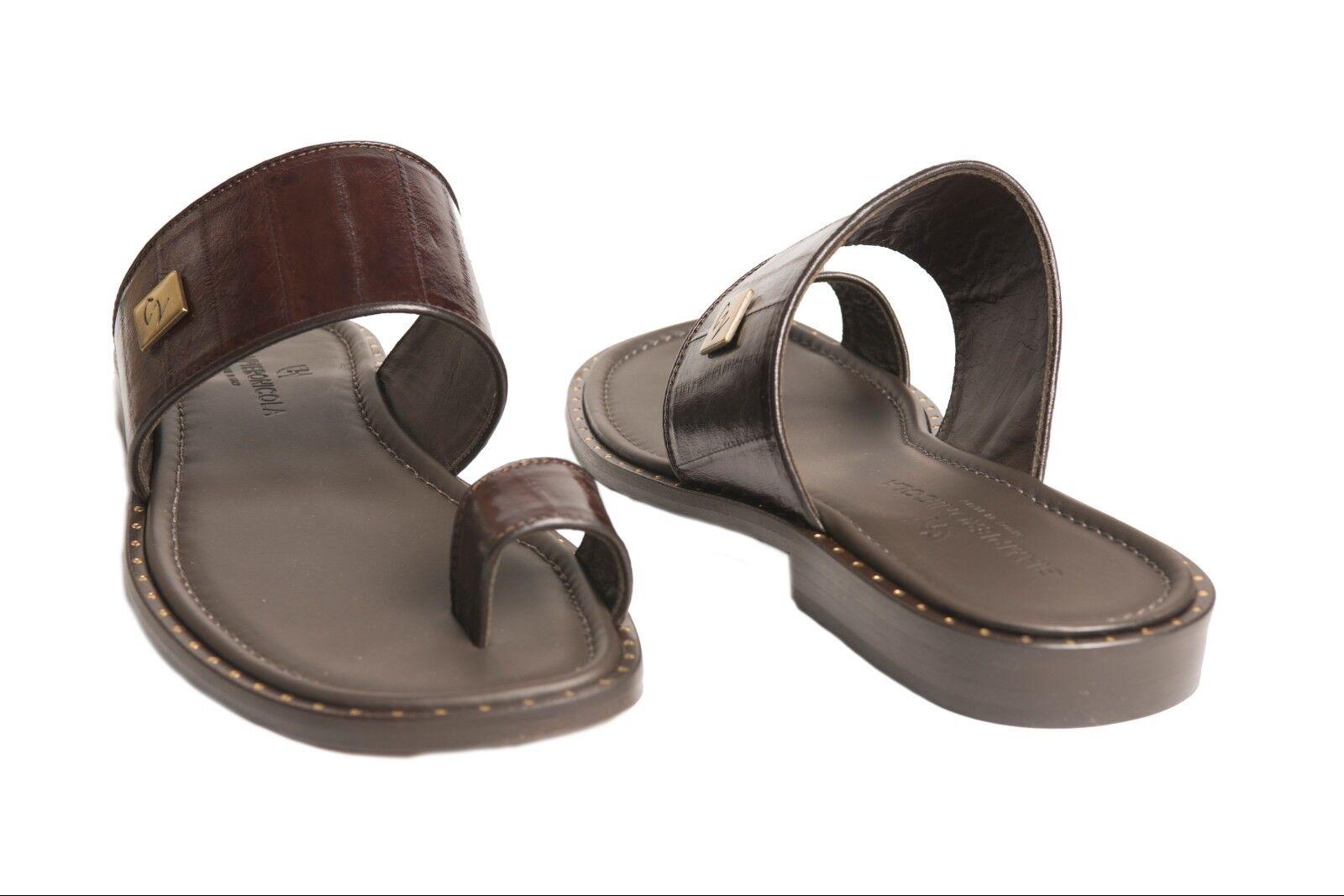 Giampieronicola 5023 Italian mens Marroneee eel skin push-in-toe sandals