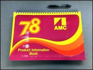 1978 AMC American Motors Data Book Brochure Catalog AMX Concord Pacer Gremlin