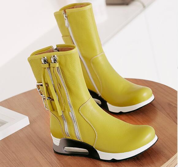 Women Black Zip Tassel Black Mid Calf Boots Shoes Wedge Comfort Round Toe Sz