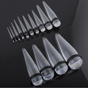 Taper-Espansore-Dilatatore-Orecchio-Acrilico-Trasparente-1-2mm-20mm
