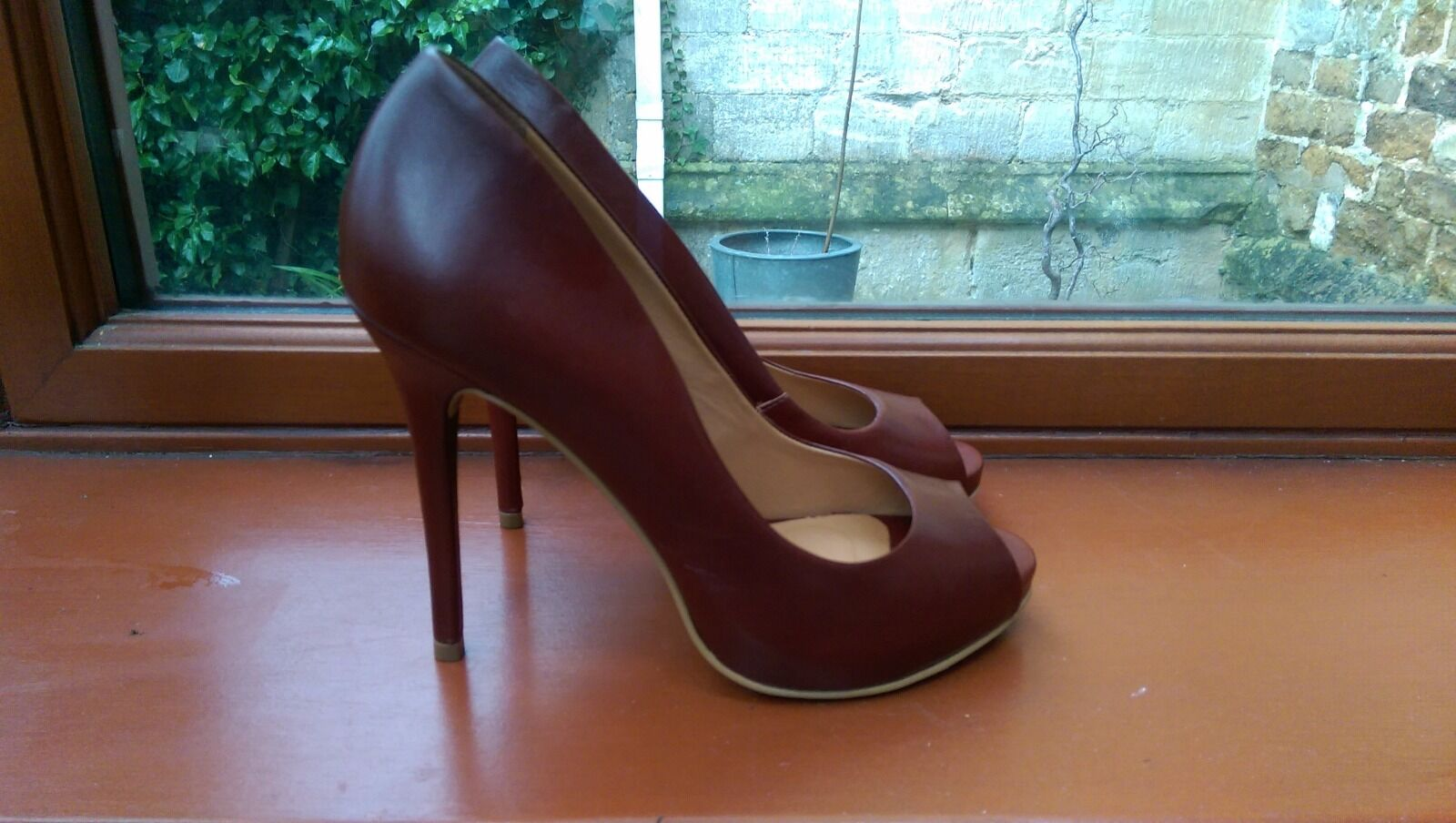 LADIES WEDDING PARTY PROM OFFICE BURGUNDY PEEP TOE LEATHER HIGH HEELS Größe 4.5