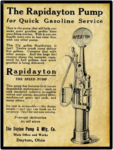 New Metal Sign: Rapidayton Gas Pump Ohio Dayton 1919 Dayton Pump /& Mfg Co