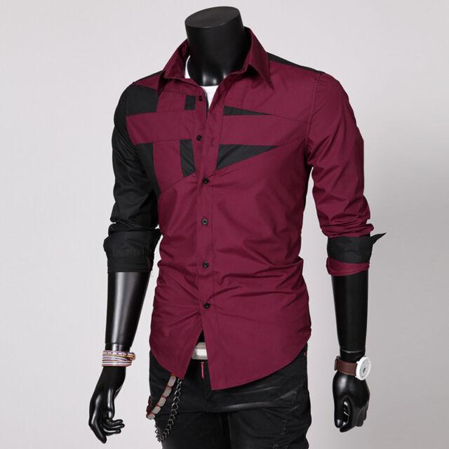 New Mens Fashion Luxury Casual Slim Fit Stylish Long Sleeve Dress Shirts