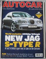 AUTOCAR magazine 20/6/2001 featuring Renault Avantime, Jaguar XKR-R, Ford