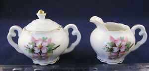Vtg-Porcelain-Cream-amp-Lidded-Sugar-Dogwood-Gold-Trim-Handpainted-Japan-label