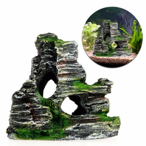 Aquarium Mountain View Rock Cave Tree Bridge Fish Tank Ornament Rockery Decor