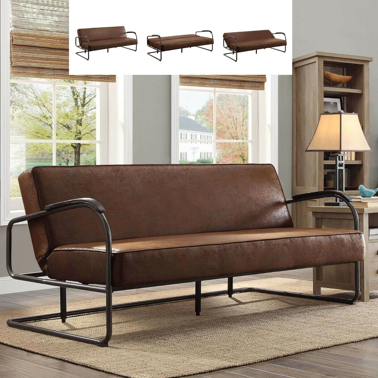 Rustic Futon Sofa Bed Sleeper Full Faux Leather Loveseat Living Room  Furniture