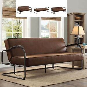 Details About Rustic Futon Sofa Bed Sleeper Full Faux Leather Loveseat Living Room Furniture