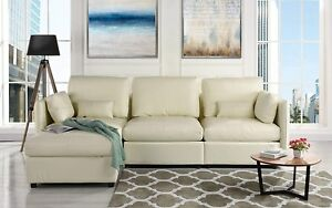 L Shape Living Room Leather Match Sectional Sofa Left Facing Chaise