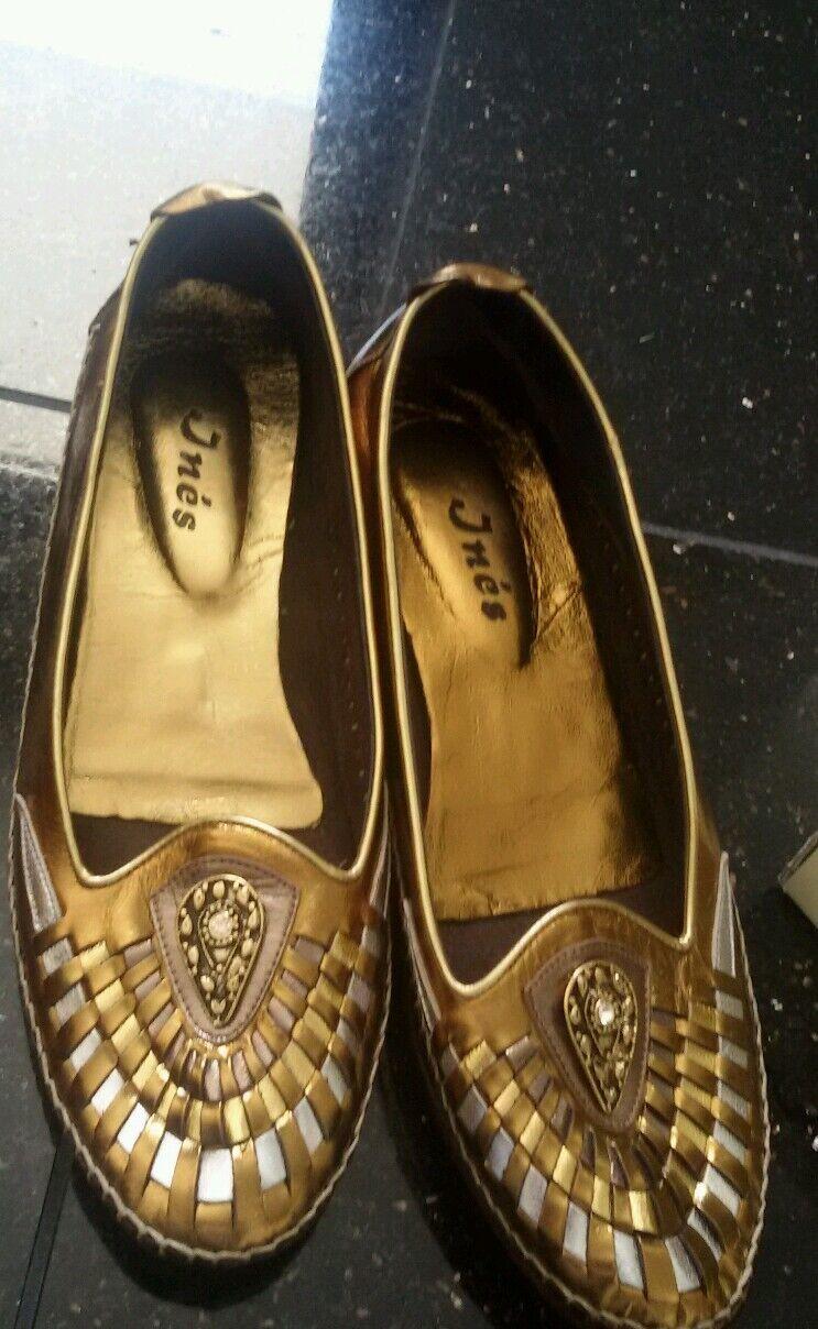 Mallorca Schuhe Gr 39 39 Gr echt Leder Gold Luxus sehr schick 4ffaba
