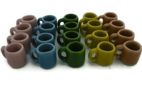 30 Mix Colorful Ceramic Mugs Coffee Dollhouse Miniatures Supply Deco Kitchenware