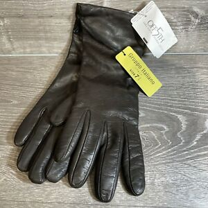 NEW-GI-GRUPPO-ITALIANO-SZ-7-5-BROWN-LEATHER-GLOVES-100-CASHMERE-LINED-WOMEN-039-S