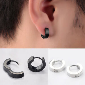 Image Is Loading 2x Men Women Stainless Steel Hoop Huggie Ear