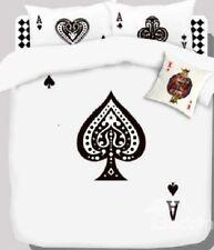 Queen Size Blackjack Poker Cards Duvet Cover Bedding Set Unique Fun