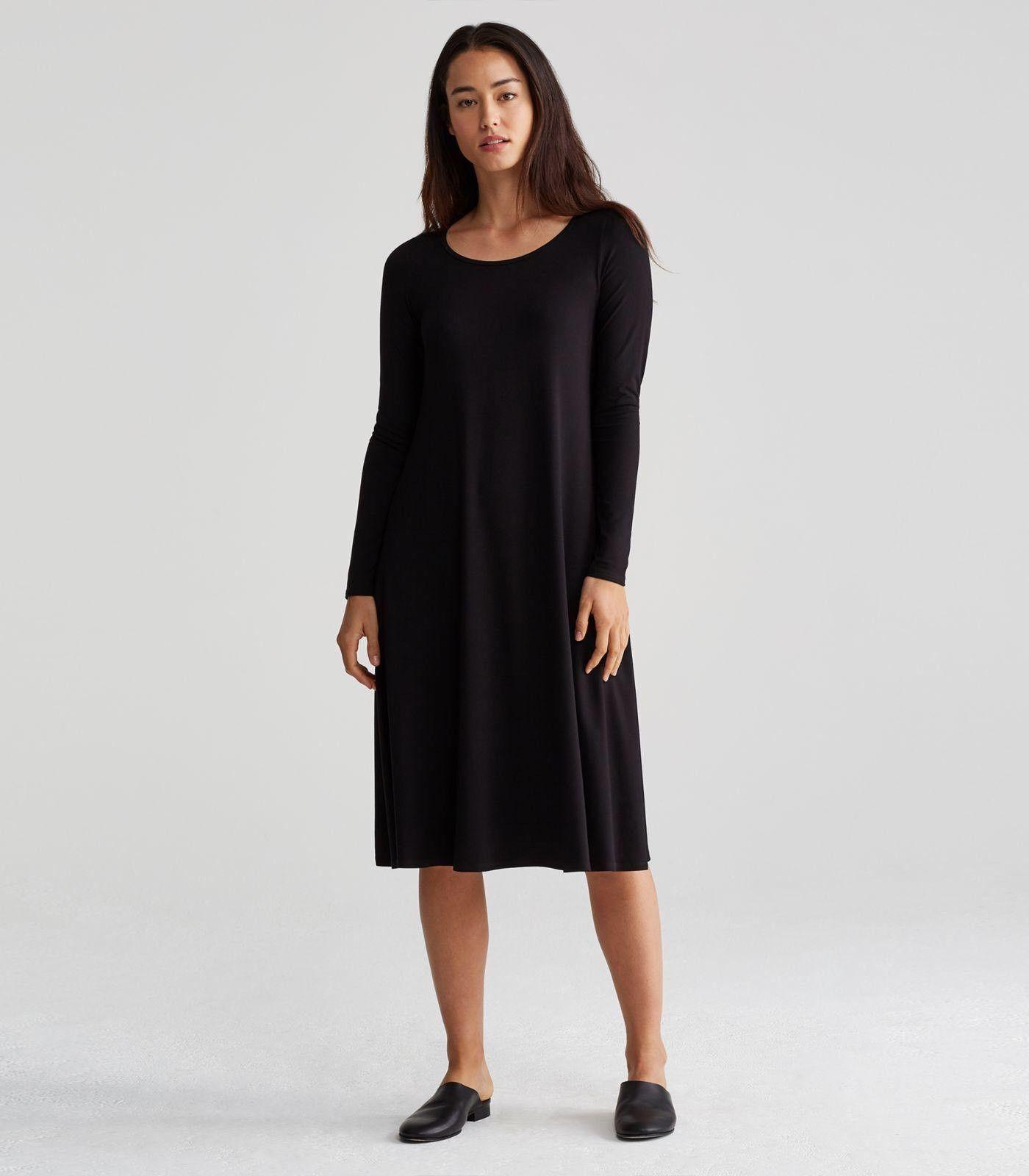 Eileen Fisher 1X schwarz Rndneck Knee Length Dress Lightwt Viscose Jersey NWT
