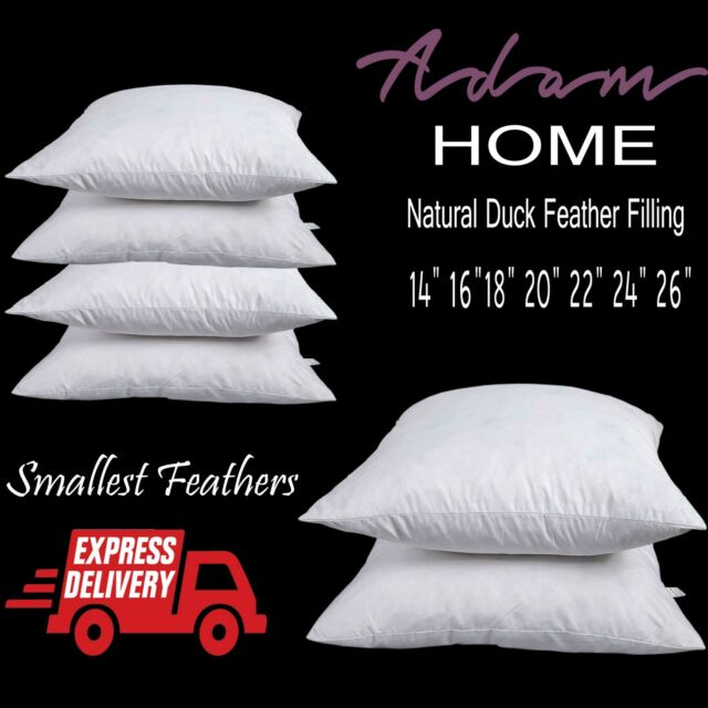 """4 Pack of 12/"""" X 12/"""" DUCK WHITE SOFT FEATHER CUSHION PADS//INSERTS//SCATTERS"""