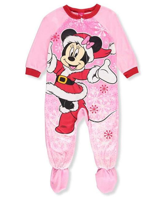 bbe62f7769a8 Disney Minnie Mouse Toddler Girls Footed Fleece Christmas Pj s Pink ...