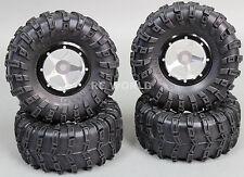 RC 1/10 Truck Wheels 2.2 ROCK CRAWLER Aluminum BEADLOCK Rims W/tires SILVER-B