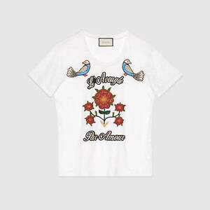 GUCCI-1200-Authentic-New-White-Linen-Jersey-Floral-Amour-Embroidered-Tshirt