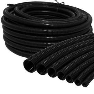 Black Conduit Split & Non Split Tube Cable Tidy Organiser Flexible Trunking