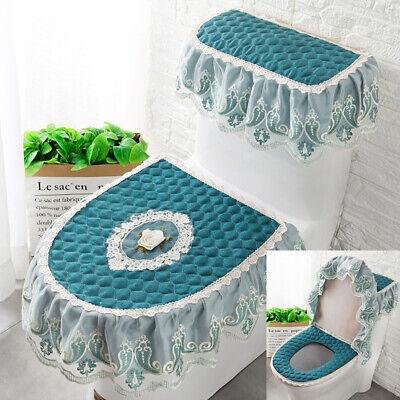 3pcs//set Bathroom Toilet Seat Cover Zipper Lace Lid Pads Closestool Protect Pads