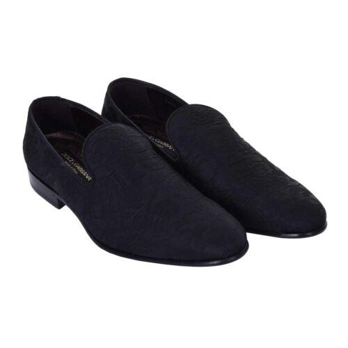 DOLCE /& GABBANA Blumen Brokat Loafer Schuhe VENEZIA Schwarz Shoes Black 08044