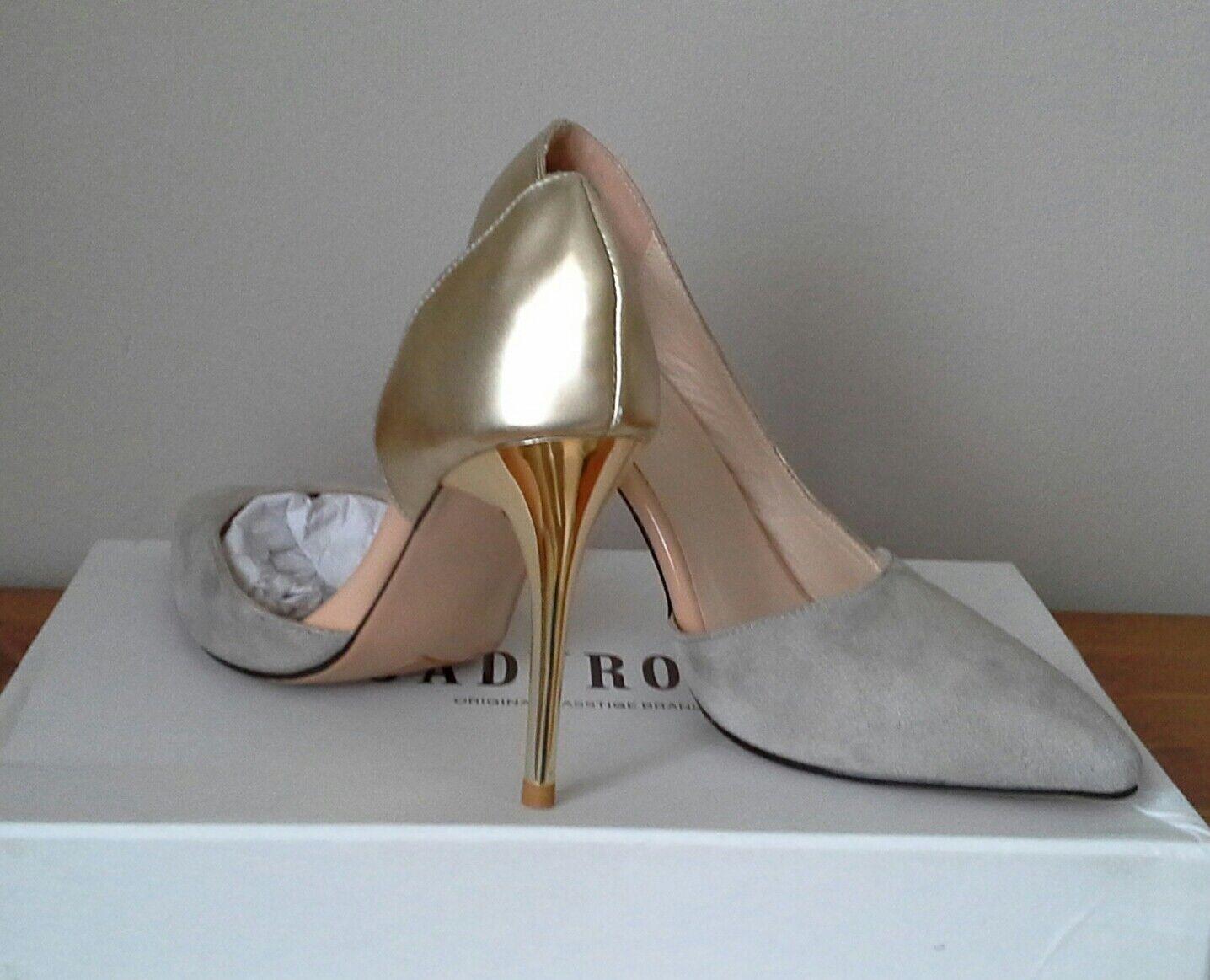 Damens Schuhes JADYROSE BNWB UK4.5 EU37 Grau Suede/Gold NEU Occasion Office Party