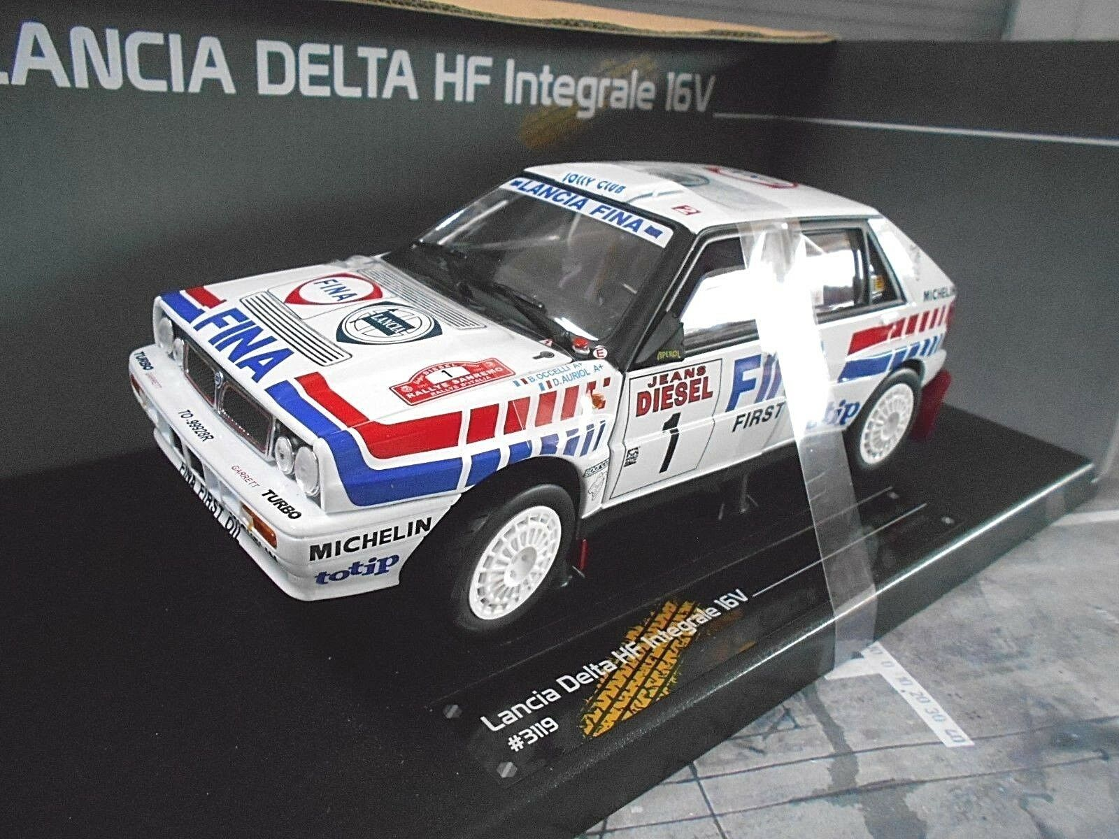 Lancia Delta HF intégrale 16 V Rallye San Remo 1991  1 Auriol FINA Sunstar 1 18