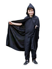 Black Hooded Kids 105cm Cape Halloween Fancy Dress Gothic Vampire Child Costume