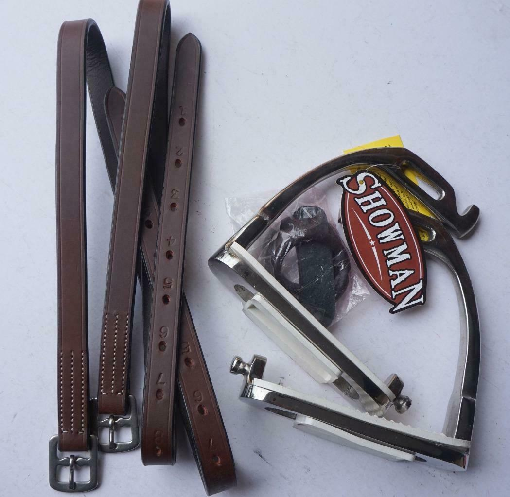 Safety Breakaway English Kids Youth Stirrup Irons+ Leathers- 3 4x36  1x48  Brown