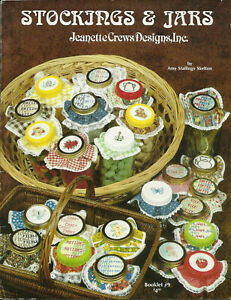 Stocking-Cuffs-amp-Jar-Lids-Holiday-Cross-Stitch-Pattern-Leaflet-33-designs