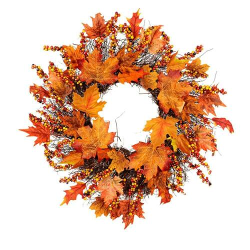 Artificial Maple Leaf Berry Wreath Halloween Thanksgiving Christmas Door Decor