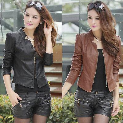 Fashion Vintage Womens Slim Biker Jacket Short Motorcycle PU Leather Jacket Coat