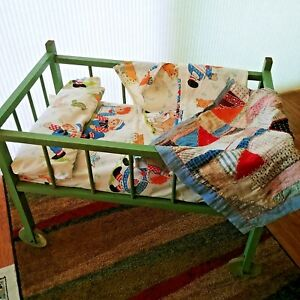 """Vintage Doll Baby Bed Crib USA Hand Made Wood Primitive 25"""""""