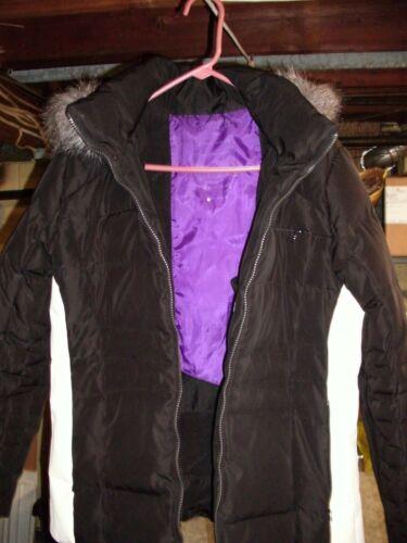 capuche pour Klein veste noir bordure en avec femme synthétique Performance Calvin fourrure large Manteau wpfYHxq1w