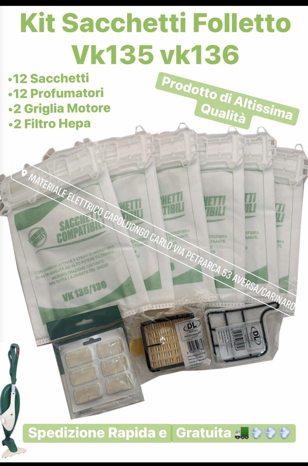 profumi: SACCHETTI FOLLETTO vk 135 136 kit 12 sacchetti 12 profumi 4 filtri I MIGLIORI