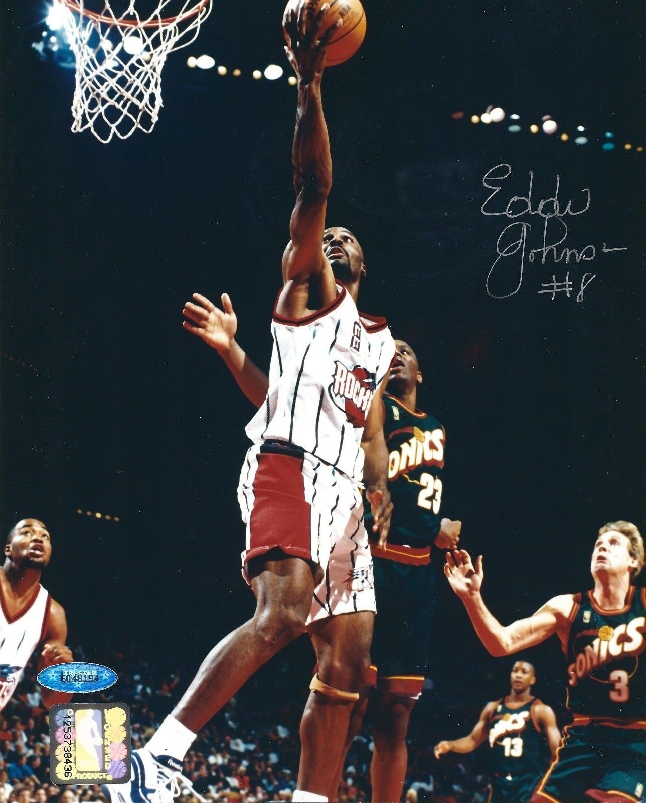 Eddie Johnson Signed Houston Rockets Basketball 8x10 Photo Tri-Star 6048194