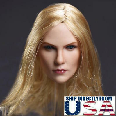 """1//6 American Female Head Sculpt Blonde Hair For Hot Toys PHICEN 12/"""" Figure USA"""