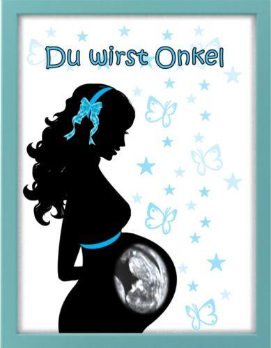 "Geschenk Baby /""Du wirst Onkel/"" Bilderrahmen personalisiert Geburt"