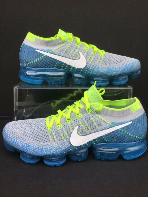 "Nike Air VaporMax Flyknit ""Sprite""Wolf Grey Chlorine Blue Sz.10.5 (849558 022)"