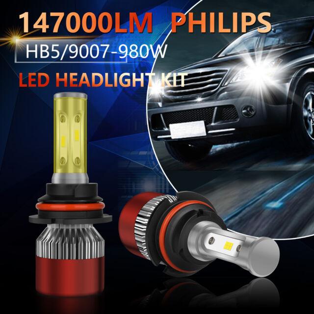 9007 HB5 PHILIPS LED Headlight Bulbs Conversion Kit 1100W 165000LM High Low Beam