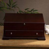 Flatware Storage Chest Drawer Silverware Case Box Wood Brown Walnut