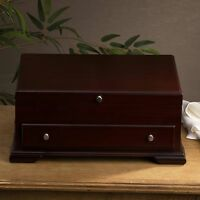 Flatware Storage Chest Drawer Silverware Case Box Wood Brown Walnut