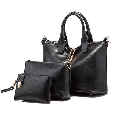 3PCS Fashion Women Handbag Shoulder Leather Messenger Satchel Purse Tote Bag Lot