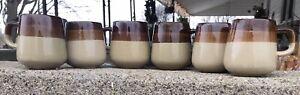 "Vintage Pottery 8oz Coffee Mug Set Of 6 4 X 5"" Nice! Heavy!"