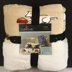 Cuddl-Duds-Dogs-Plush-Sherpa-Throw-Blanket-50-x-60-Reversible
