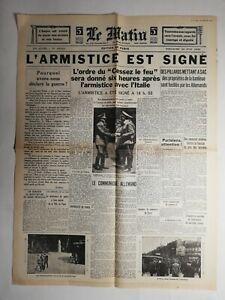 N465-La-Une-Du-Journal-Le-Matin-23-juin-1940-l-039-armistice-est-signe