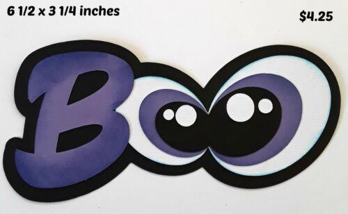 BOO TITLE HALLOWEEN with eyes scrapbook paper piecing 3D die cut by Rhonda