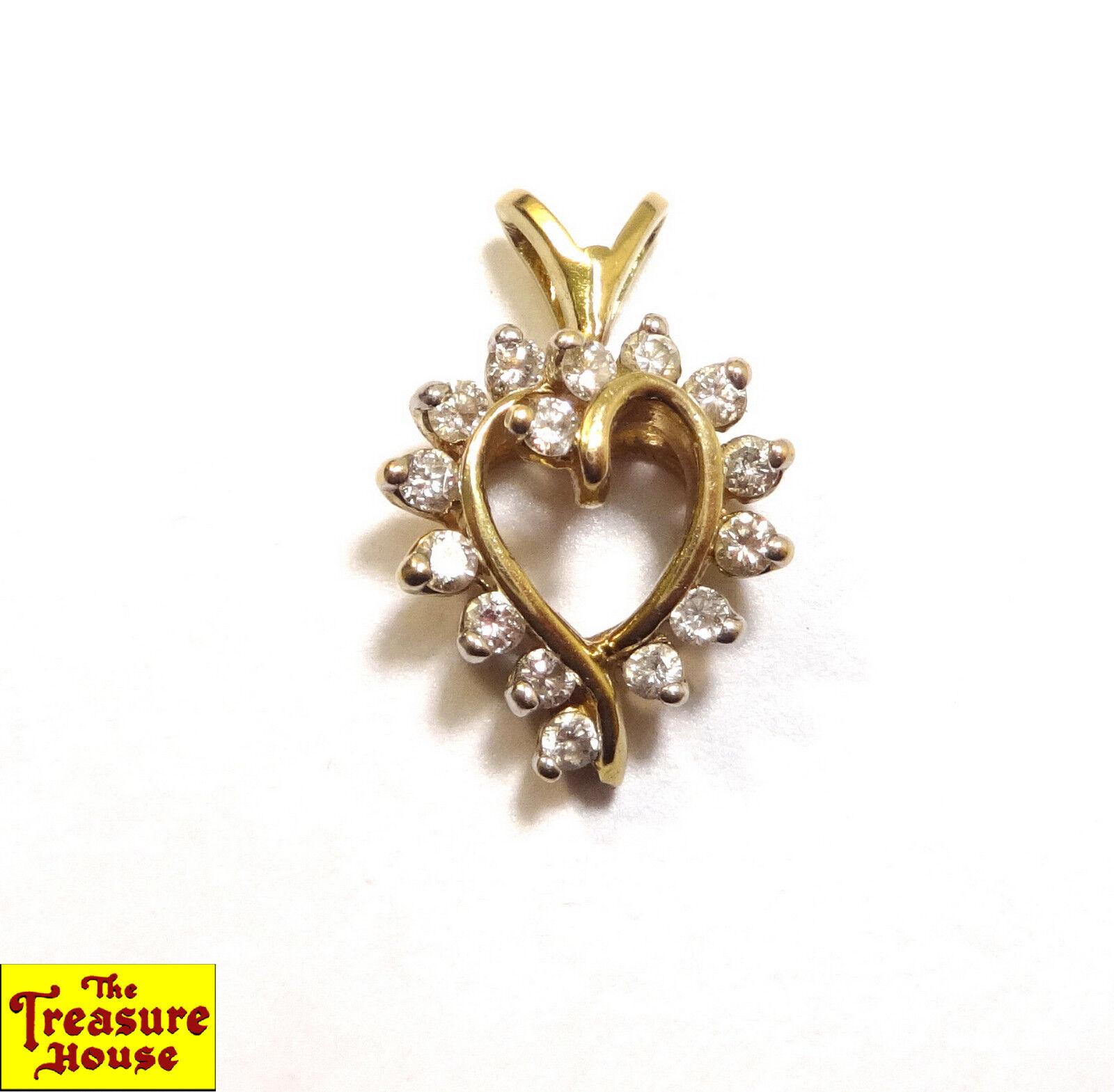 Stunning 15-Stone Solid 14K Yellow gold Diamond Open Heart Pendant Charm 1.9g