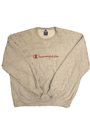 Vintage Champion Reverse Weave Red/Gray Spellout S